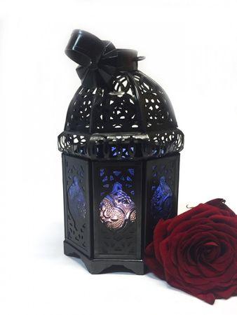 Moroccan Lantern Ulima blue, (including lantern stand). – image 4
