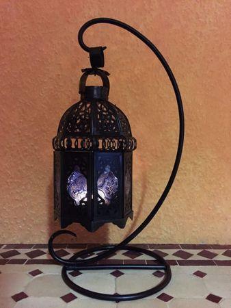Moroccan Lantern Ulima blue, (including lantern stand). – image 3