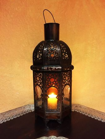 Moroccan Lantern Aysenur - Clear / Orange - 38cm – image 5