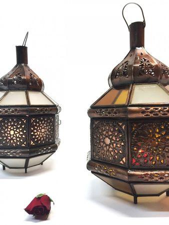 Moroccan Lantern Azima White / Orange - 33cm – image 3