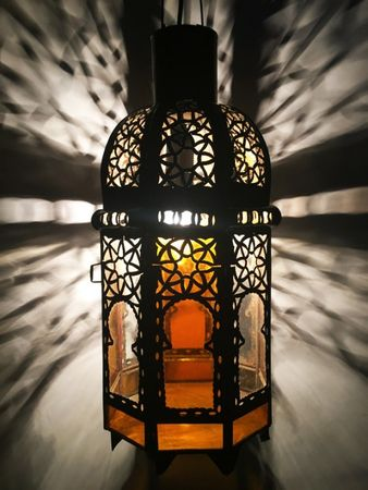 Moroccan Ceiling Light Aysenur - orange / clear - 38cm – image 1