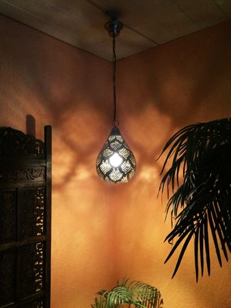 Moroccan Ceiling Lamp silver colored Zahara – image 4