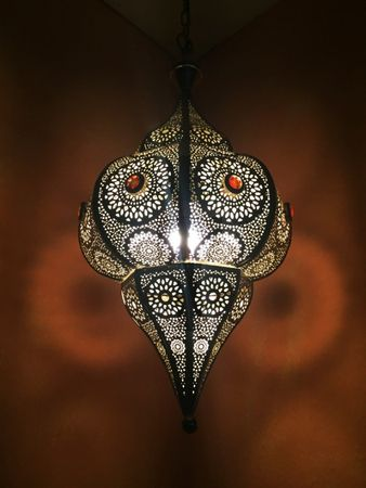 Moroccan Ceiling Lamp silver colored Elif – image 3