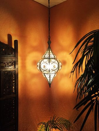 Moroccan Ceiling Lamp silver colored Elif – image 5