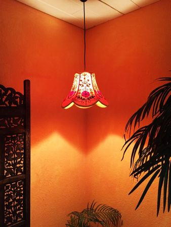 Shabby Chic cotton lamp Shyamana Orange – image 2