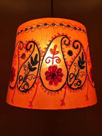 Shabby Chic cotton lamp Shankar Orange – image 1