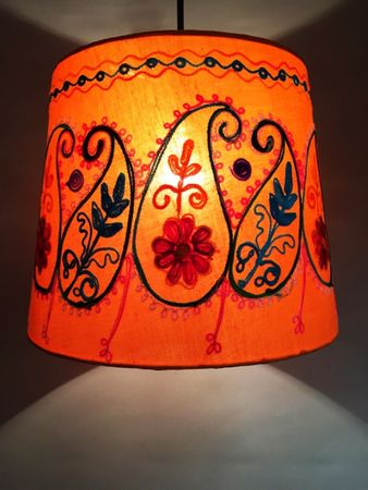 Shabby Chic cotton lamp Shankar Orange – image 5