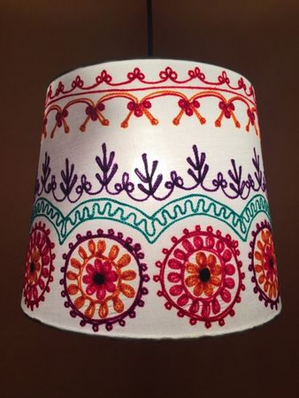 Shabby Chic cotton lamp Shankar Creme – image 1