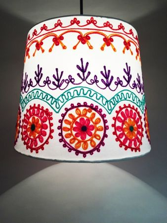 Shabby Chic cotton lamp Shankar Creme – image 5
