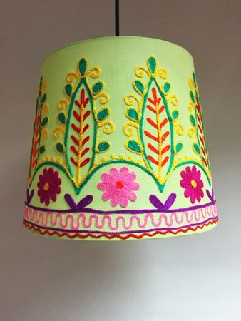 Shabby Chic cotton lamp Shankar Green – image 1