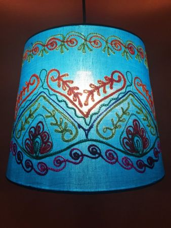 Shabby Chic cotton lamp Shankar Blue – image 1