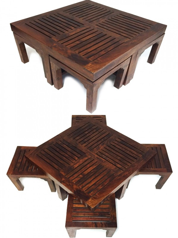 Table basse indienne avec 4 tabourets tuqa 90cm - Table basse avec tabourets integres ...