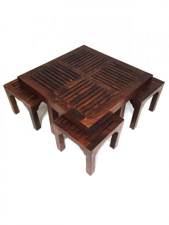 Indian coffee table Stool Tuqa - 90cm - incl. 4 stools – image 2