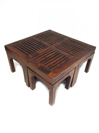 Indian coffee table Stool Tuqa - 90cm - incl. 4 stools – image 3