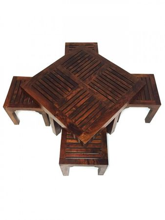 Indian coffee table Stool Tuqa - 90cm - incl. 4 stools – image 4