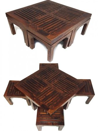 Indian coffee table Stool Tuqa - 90cm - incl. 4 stools – image 1