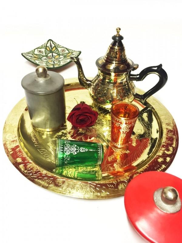 th i re orientale marocaine bakir noire dor e 600ml artisanat marocain vaisselle marocaine. Black Bedroom Furniture Sets. Home Design Ideas