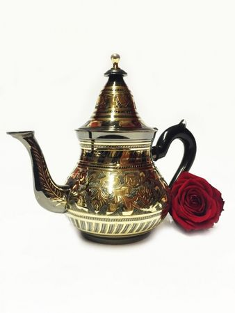 Oriental moroccan Teapot Bakir black/ gold colored- 600ml – image 3