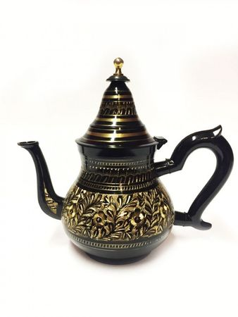 Oriental moroccan Teapot Baidar black/ gold colored- 750ml – image 1