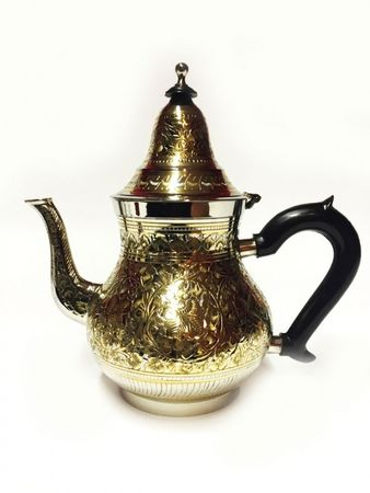 Oriental moroccan Teapot Baha XL silver colored/ gold colored- 1250ml – image 1