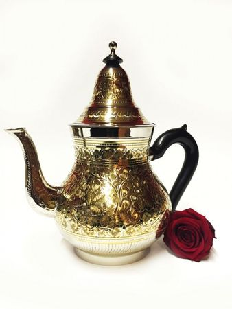 Oriental moroccan Teapot Baha XL silver colored/ gold colored- 1250ml – image 3