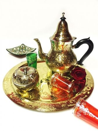 Oriental moroccan Teapot Baha XL silver colored/ gold colored- 1250ml – image 5