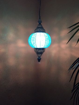 Moroccan Ceiling Lamp Shadia turquoise – image 9