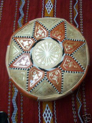 Moroccan Leather Seat Cushion Merzougha - Orange/Nature, 45cm – image 2