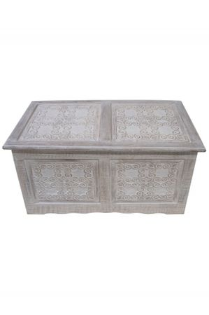 Indian chest Ceyda - White Wash 80cm – image 1