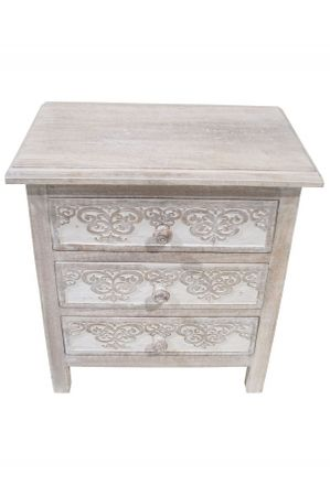Indian Bedside Table Caasi - white wash – image 2