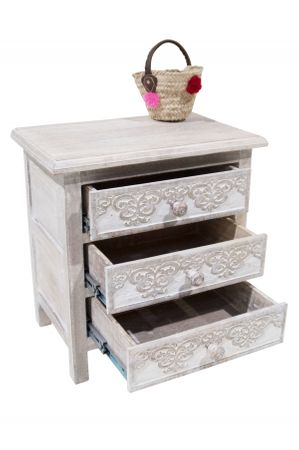 Indian Bedside Table Caasi - white wash – image 3
