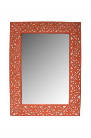 Oriental hand carved Mirror Farah orange - 70cm – image 1