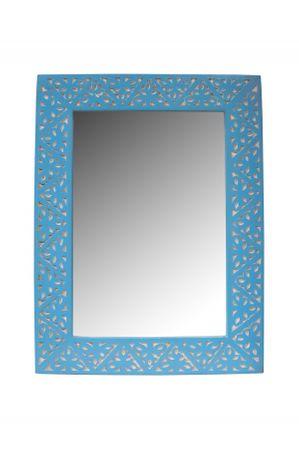 Oriental hand carved Mirror Farah blue - 70cm – image 2
