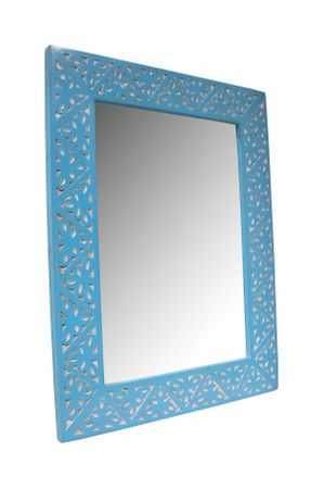 Oriental hand carved Mirror Farah blue - 70cm – image 1