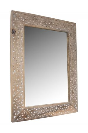 Oriental hand carved Mirror Farah - nature 70cm - – image 1