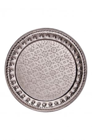 Oriental Moroccan Tray Amana - Silver colored, 60cm