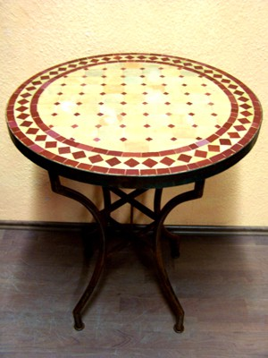 Mosaic Table Marrakesch Nature/Bordeaux 60cm – image 1