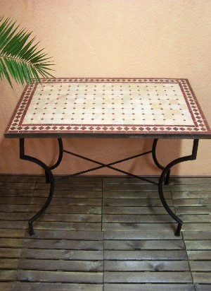 Mosaic Table Marrakesch Nature/ Bordeaux, 100x60cm – image 1