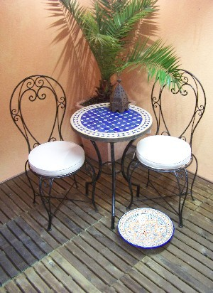 Mosaic Table marrakesch Blue/ nature, 60cm – image 2