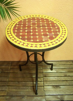 Mosaic Table marrakesch Bordeaux/ yellow, 60cm – image 1