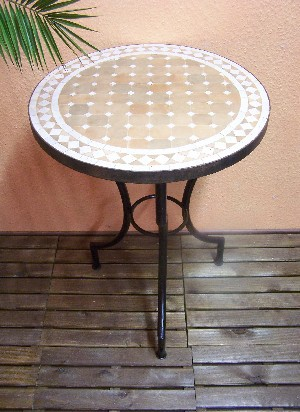 Mosaic Table marrakesch Nature/ White, 60cm – image 1