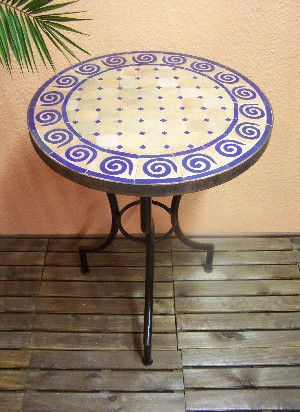Mosaic Table Spiral Nature/ Blue, 60cm – image 1