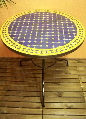 Table mosaïque Marrakech 80cm -Claire/Jaune Meubles de jardin ...