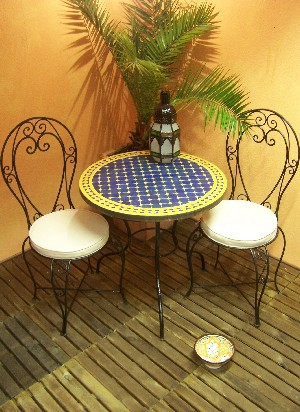 Mosaic Table marrakesch Blue/ Yellow, 80cm – image 3