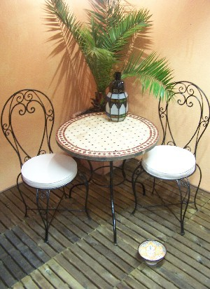 Mosaic Table marrakesch Nature/ Bordeaux, 80cm – image 3