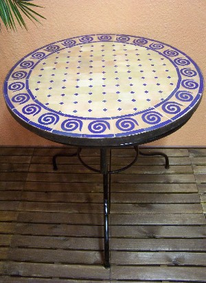 Mosaic Table Spiral Nature/ Blue, 80cm – image 1