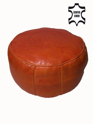 Moroccan Leather Seat Cushion Fes - Orange – image 1
