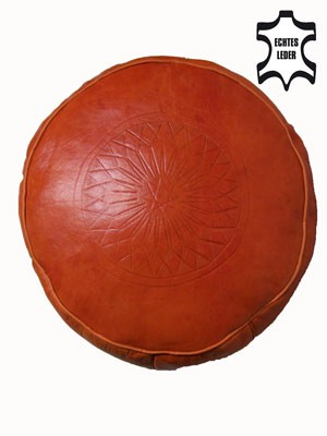 Moroccan Leather Seat Cushion Fes - Orange – image 2