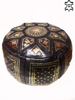 Moroccan Leather Seat Cushion Merzougha - Black/Gold, 45cm – image 1