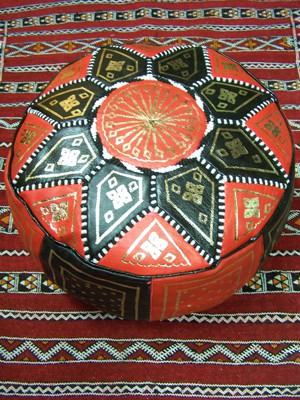 Moroccan Leather Seat Cushion Merzougha - Black/Red, 45cm – image 3